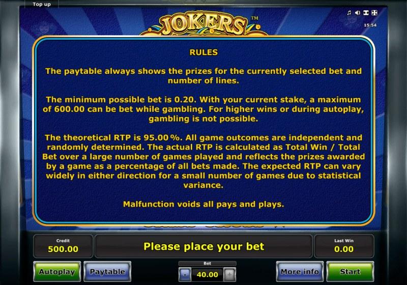 Jokers Casino :: General Game Rules