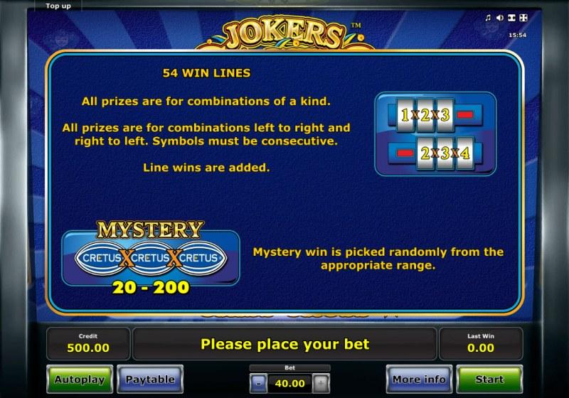 Jokers Casino :: 54 Way Win Lines