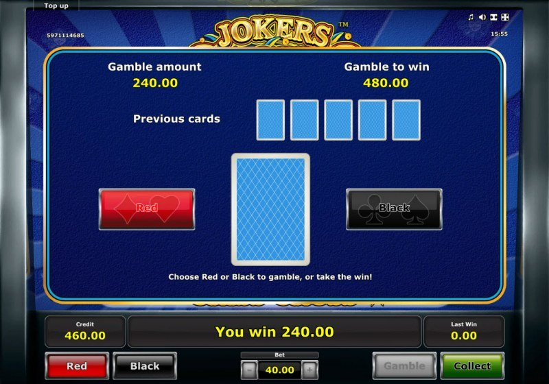 Jokers Casino :: Red or Black Gamble Feature