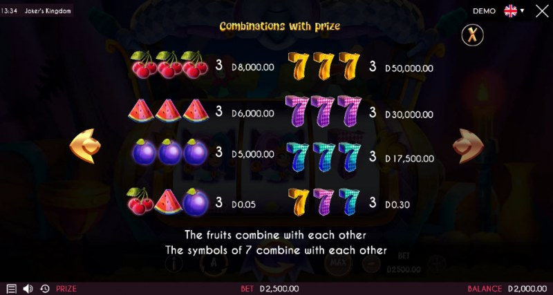 Joker's Kingdom :: Paytable