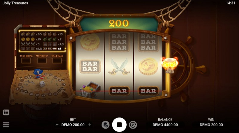 Jolly Treasures :: A three of a kind win