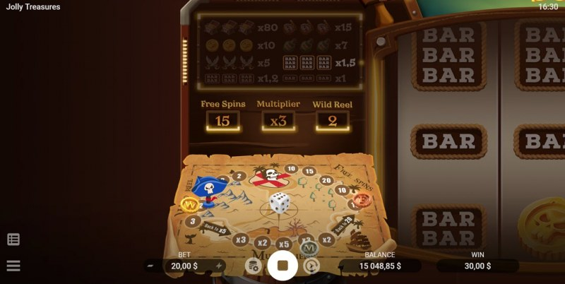 Jolly Treasures :: Treasure Map activated with each winning combination