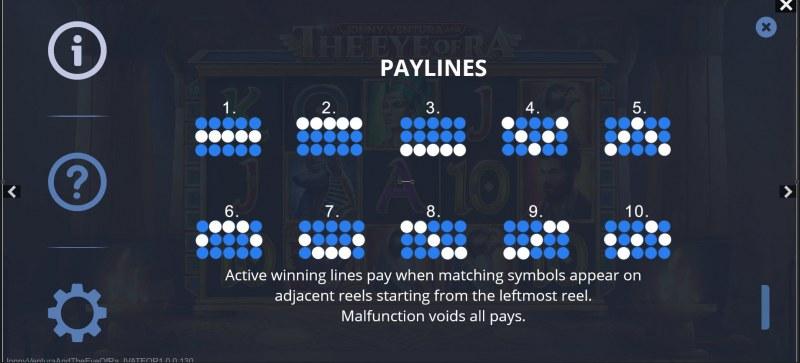 Jonny Ventura and The Eye of Ra :: Paylines 1-10