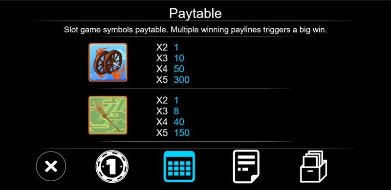 Journey To West :: Paytable - Low Value Symbols