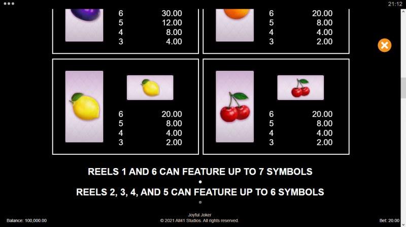 Joyful Joker Megaways :: Paytable - Low Value Symbols