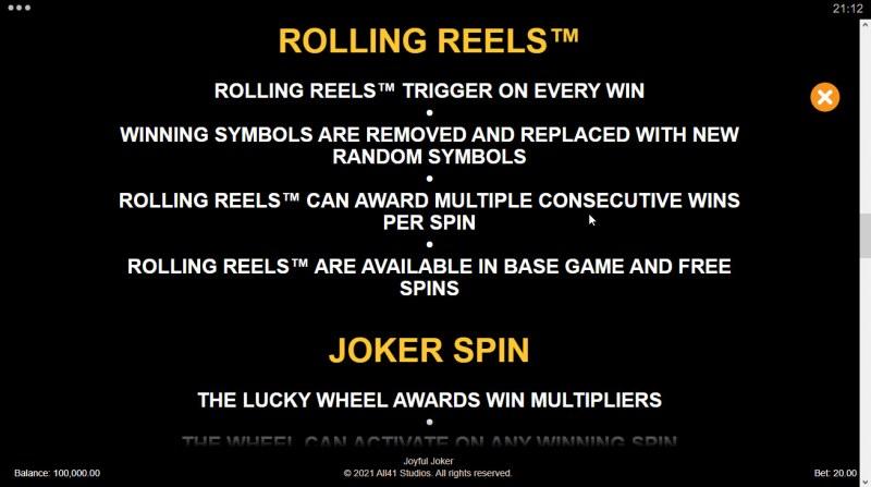 Joyful Joker Megaways :: Rolling Reels Feature