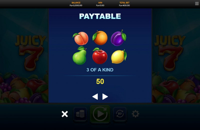 Juicy 7 :: Paytable - Low Value Symbols