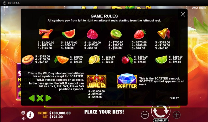 Juicy Fruits :: Paytable