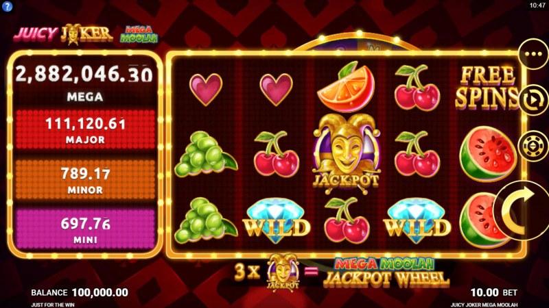 Juicy Joker Mega Moolah :: Main Game Board