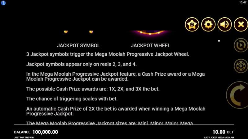 Juicy Joker Mega Moolah :: Feature Rules