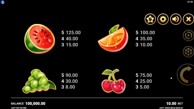 Juicy Joker Mega Moolah :: Paytable - High Value Symbols