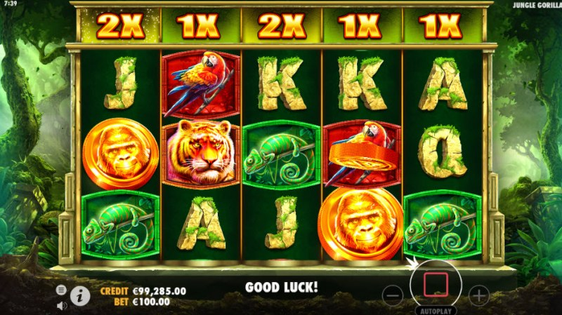 Jungle Gorilla :: Gold coins increase reel multipliers