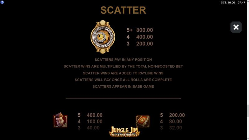 Jungle Jim and the Lost Sphinx :: Scatter Symbol Rules