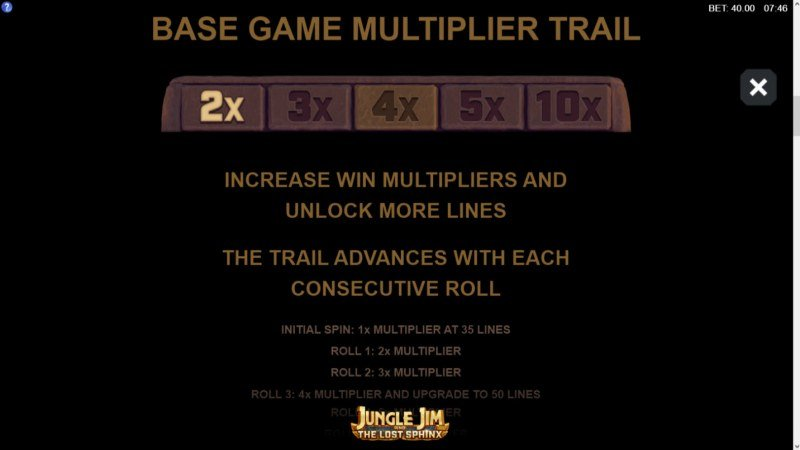 Jungle Jim and the Lost Sphinx :: Base Game Multiplier Trail