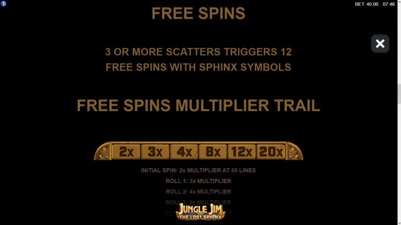 Jungle Jim and the Lost Sphinx :: Free Spins Rules