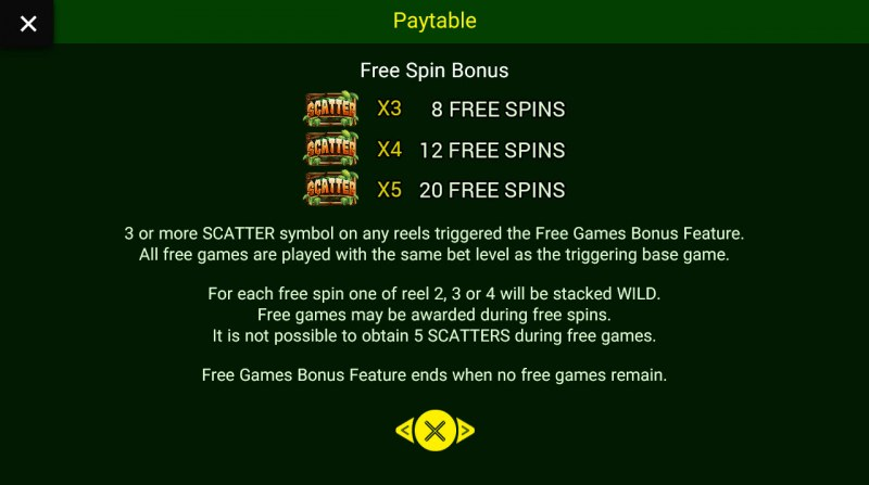 Jungle King :: Free Spins Rules