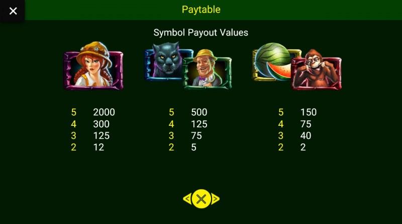 Jungle King :: Paytable - High Value Symbols