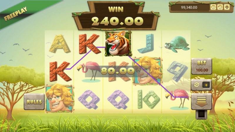 Jungle King :: A three of a kind win