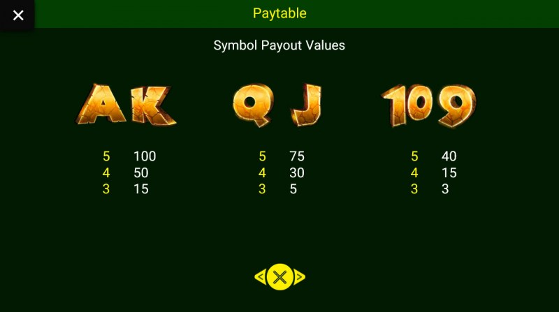 Jungle King :: Paytable - Low Value Symbols