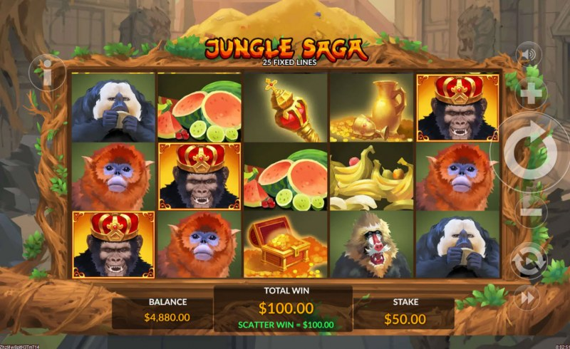 Jungle Saga :: Scatter symbols triggers the free spins feature