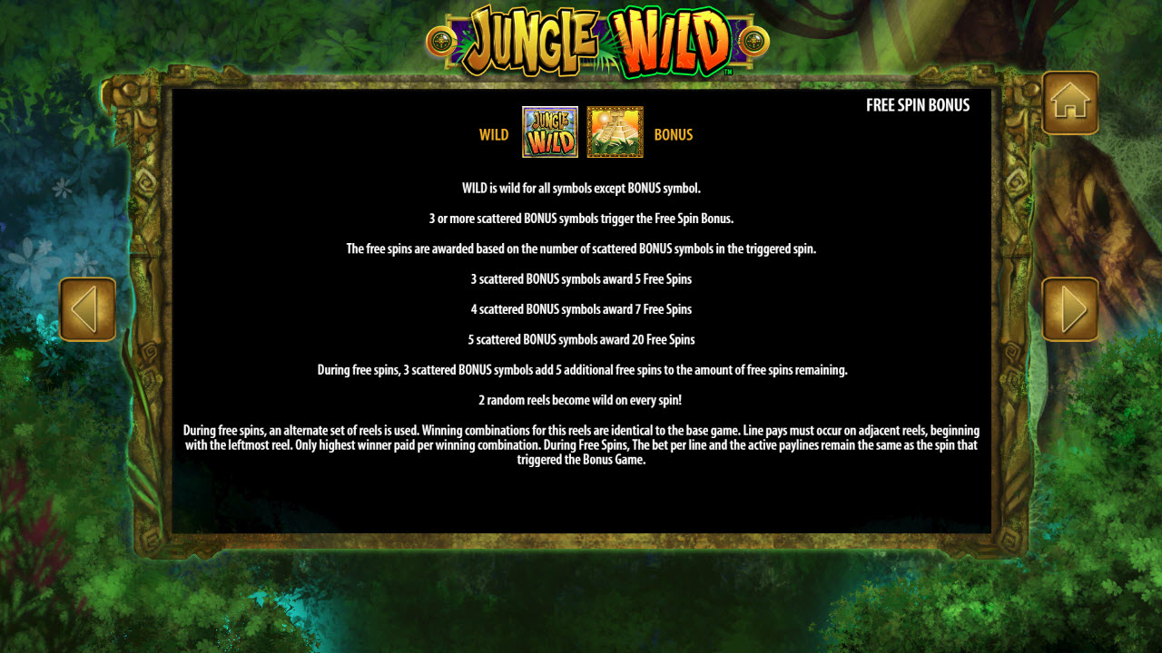 Jungle Wild :: Free Spins Rules