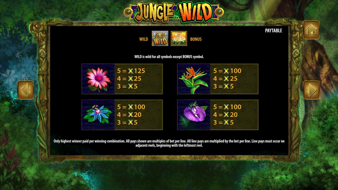 Jungle Wild :: Paytable - Low Value Symbols