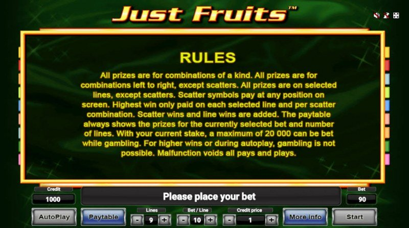Just Fruits :: General Game Rules