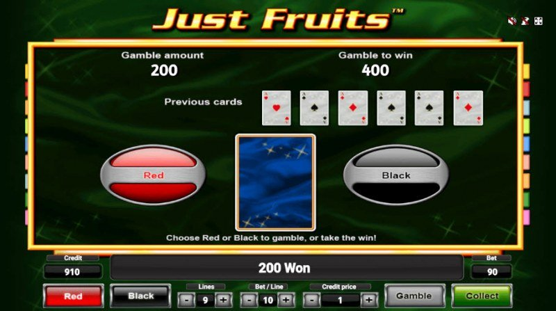 Just Fruits :: Red or Black Gamble Feature