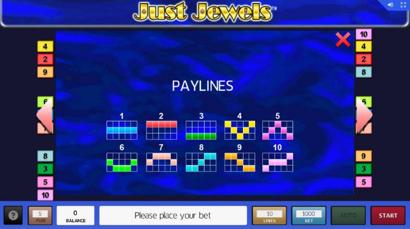 Just Jewels :: Paylines 1-10