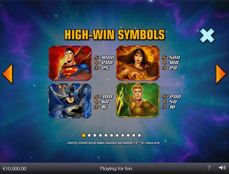 Justice League Comic :: Paytable - High Value Symbols