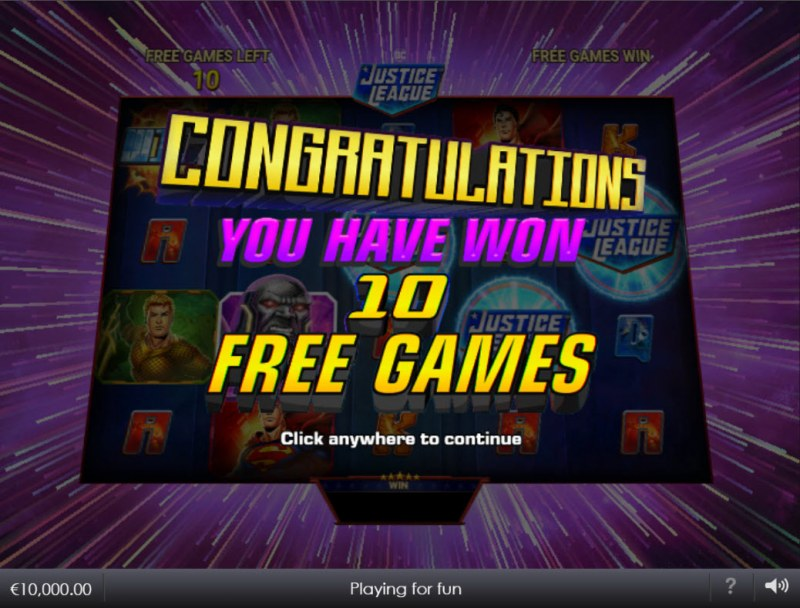 Justice League Comic :: 10 free spins awarded