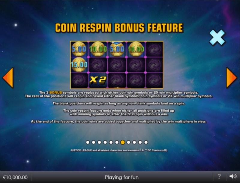 Justice League Comic :: Coin Respin Bonus Feature