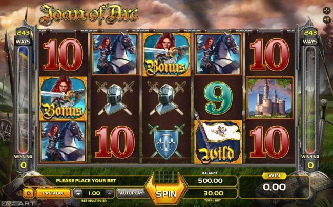 Spintropolis featuring the Video Slots Joan of Arc with a maximum payout of $7,500
