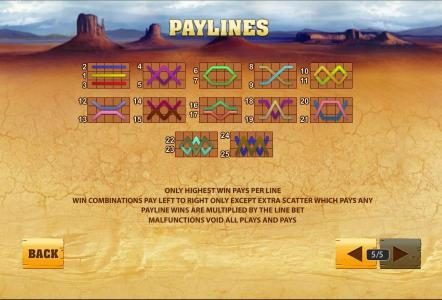 25 paylines, only highest win pays per line
