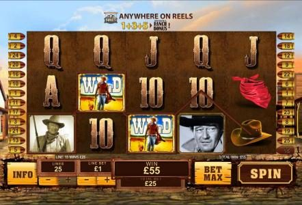 50 Stars featuring the Video Slots John Wayne with a maximum payout of $250,000