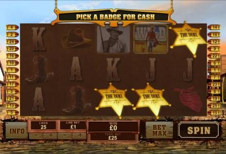 The Duke bonus feature triggered - pick a badge for cash