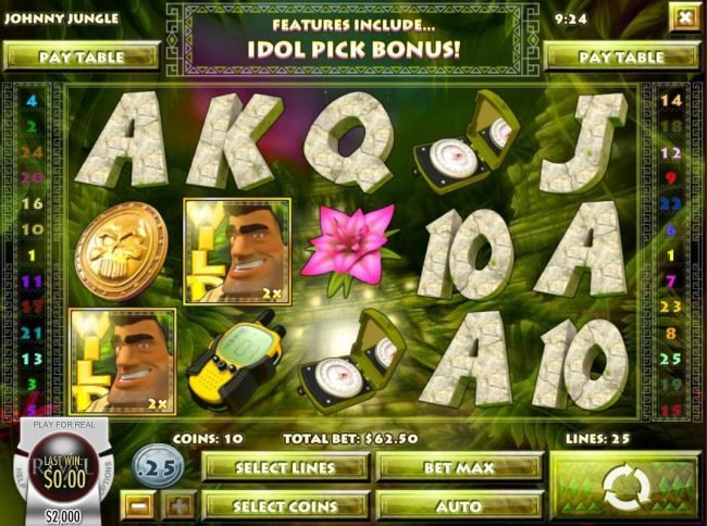Mayan Fortune featuring the Video Slots Johnny Jungle with a maximum payout of $125,000