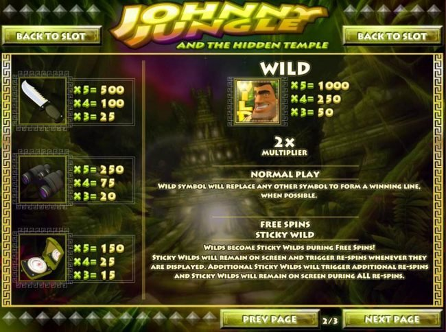 Vegas Regal featuring the Video Slots Johnny Jungle with a maximum payout of $125,000