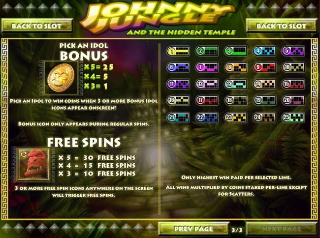Slots Jackpot featuring the Video Slots Johnny Jungle with a maximum payout of $125,000