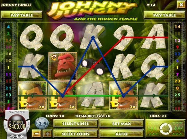 Planet Kings featuring the Video Slots Johnny Jungle with a maximum payout of $125,000