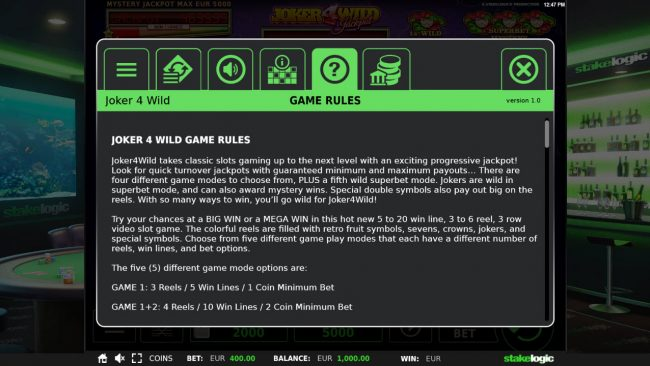 Casimba featuring the Video Slots Joker 4 Wild with a maximum payout of $20,000