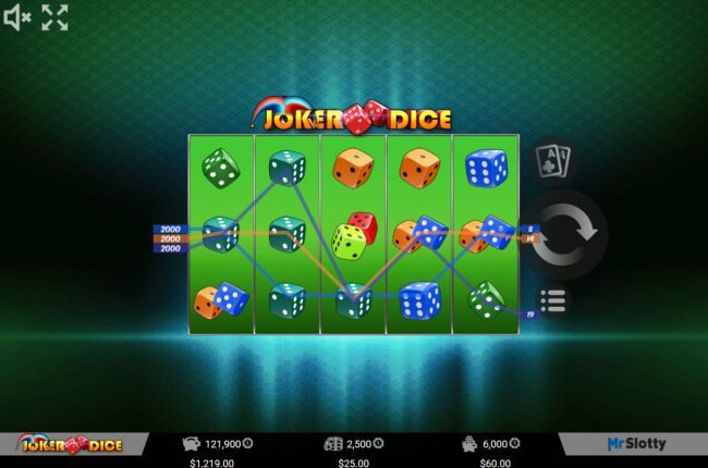 Lord of the Spins featuring the Video Slots Joker Dice with a maximum payout of $50,000