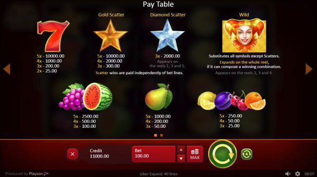 NordiCasino featuring the Video Slots Joker Expand 40 Lines with a maximum payout of $400,000