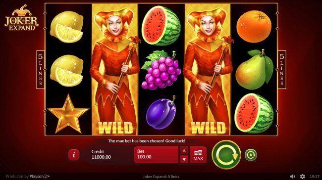 Club Vulkan featuring the Video Slots Joker Expand 5 Lines with a maximum payout of $250,000