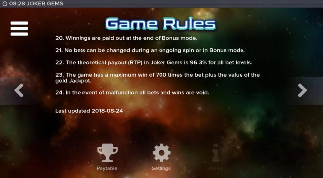 Conquer featuring the Video Slots Joker Gems with a maximum payout of $120,000