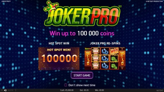 Yeti Casino featuring the Video Slots Joker Pro with a maximum payout of $1,000,000