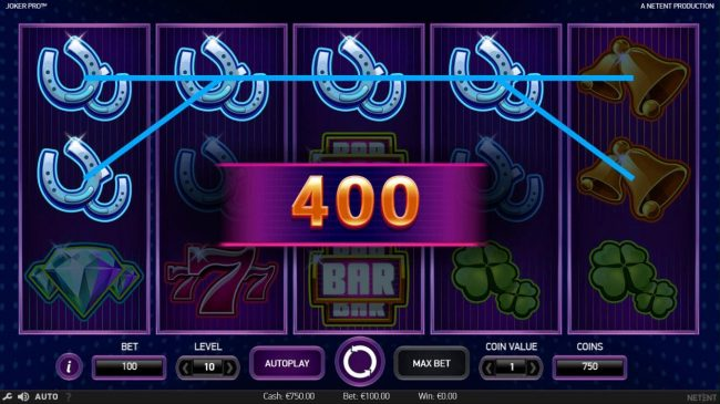 Two Four of a Kinds triggers a 400 coin big win.