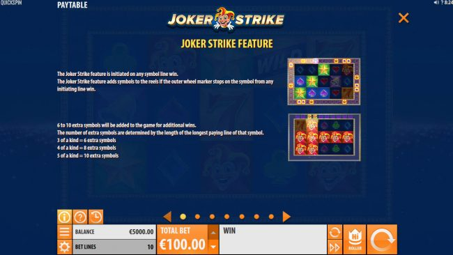 Fruity Casa featuring the Video Slots Joker Strike with a maximum payout of $100,000