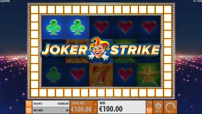 Lucky Dino featuring the Video Slots Joker Strike with a maximum payout of $100,000