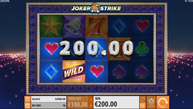 Coral featuring the Video Slots Joker Strike with a maximum payout of $100,000